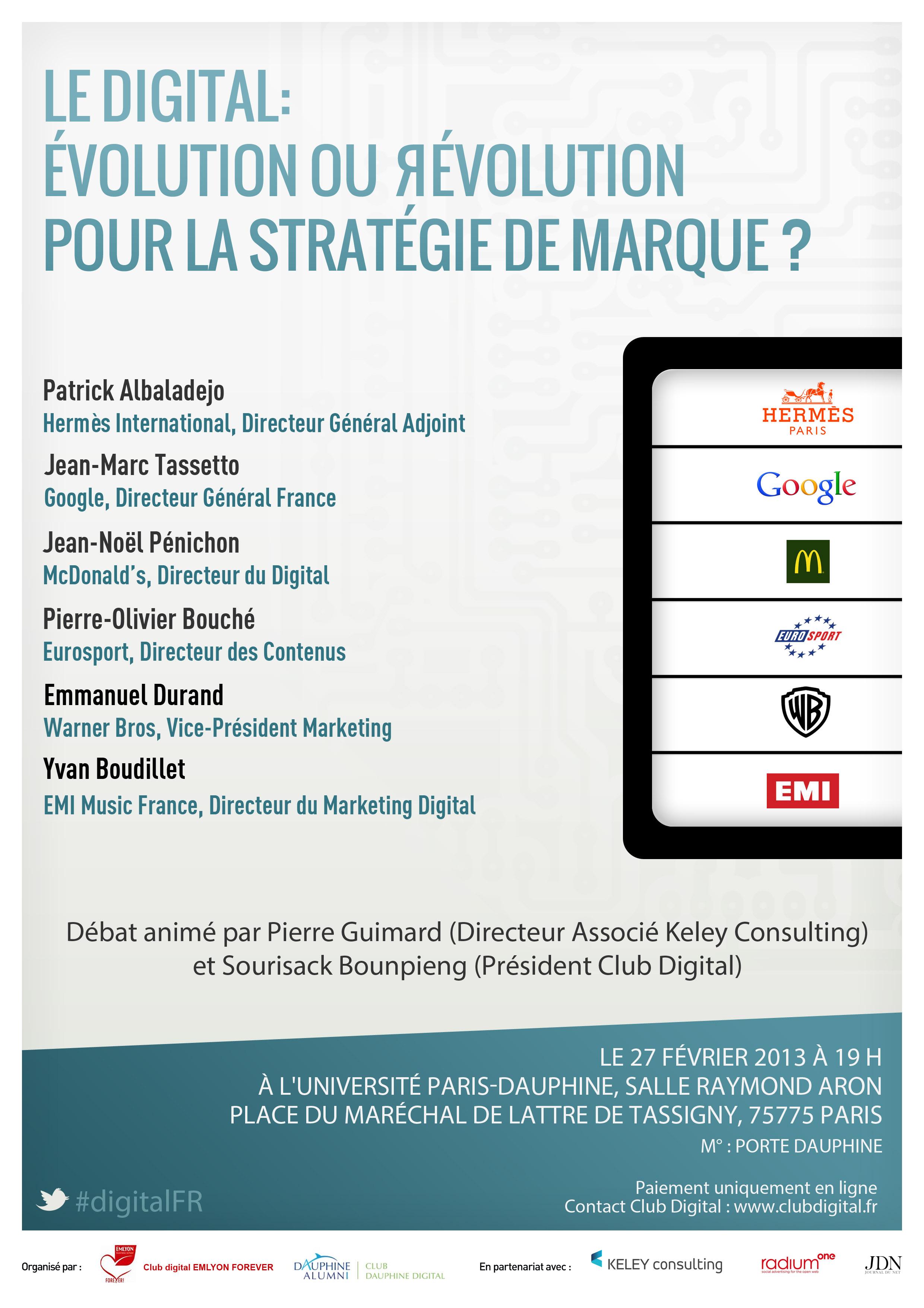 Conférence Club Digital : Le Digital : Évolution ou révolution pour la stratégie de marque ?